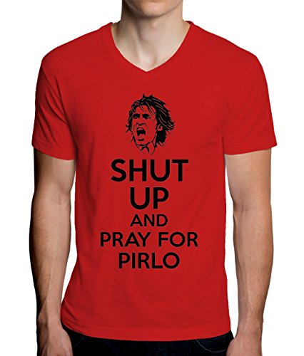 Shut Up And Pray For Pirlo Men's V-Neck T-Shirt Medium (Awesome T-shirt Soccer)