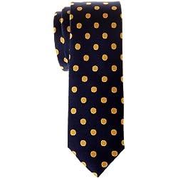 Retreez Classic Skinny de microfibra tejido de lunares corbata–Varios Colores Amarillo Navy Blue with Yellow Dots Talla única