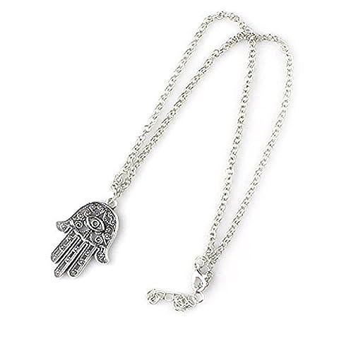 DesiDo® Orientalische Kette Halskette Chain Necklace Hand Fatima Hamsa Khamsa Hand der Miriam Halskette Boho Silber-Optik Vintage Kette mit (Gut Gegen Böse Kostüme)