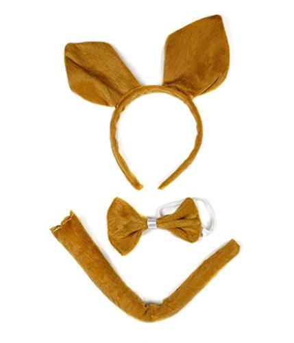 Petitebelle Stirnband Bowtie Schwanz 3pc Costume Einheitsgröße Braun-Känguru