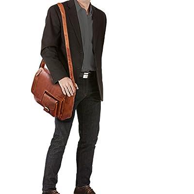 STILORD 'Mika' Sacoche cuir ordinateur 15.6 marron vintage sac à bandoulière pour femme homme porte-documents A4 sac à l'épaule pour l'université et travail