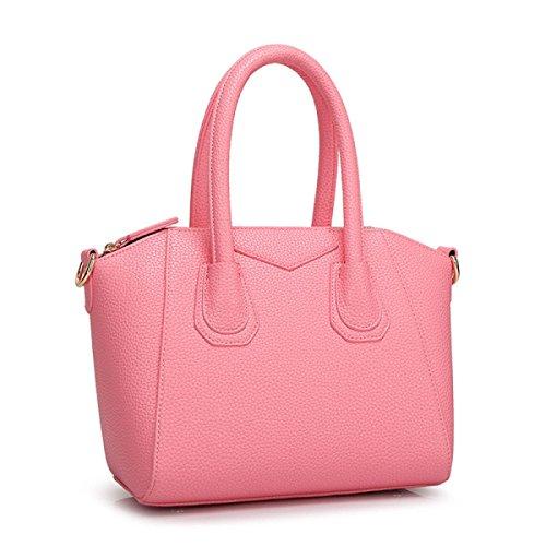 Pelle Signora PU Guscio In Pelle Goffrata Colore Sacchetto Di Caramelle Pink