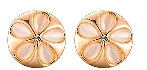 Gnzoe Women's Girl's Stud Earrings Gold Plated Rose Gold Round Flower Cut 1.7*1.7CM, Antiallergy