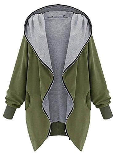 Hoodie SweatJacken Mantel Jacke Outwear - hibote Damen Uebergangsjacke Parka Zipper Hoodie mit Grosse Kapuze Blazer Mantel Coat