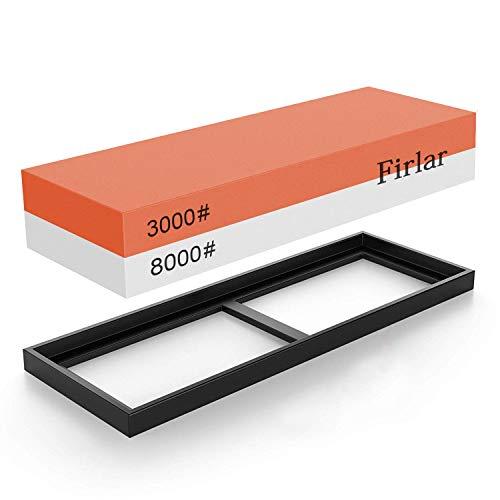 Firlar Wetzstein Schärfen Stein 3000/8000 Grit 2-IN-1 Messer Schärfen Stein Kombination Abziehstein Schleifstein - Gummi Steinhalter enthalten