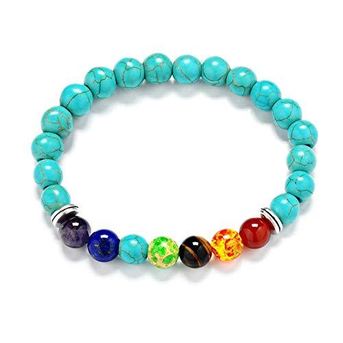 Aeici Perlenarmband Herren Türkis Perlen Armband mit Kreis Metall Armbänder Damen Charm -