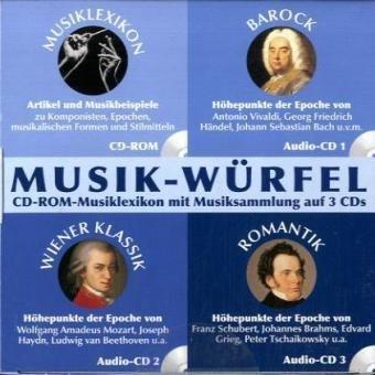 Musik-Würfel, 1 CD-ROM u. 3 Audio-CDs Lexikon der Musikgeschichte (CD-ROM), und die Musiksammlungen Barock (Audio-CD 1), Wiener Klassik (Audio-CD 2) und Romantik (Audio-CD 3). Für Windows 98/Me/2000 oder XP und Mac OS X ab 10.1