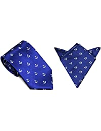 Conjunto corbata estrecha & pañuelo de bolsillo navy con lunares anclas blancas | Regalo de navidad para hombres