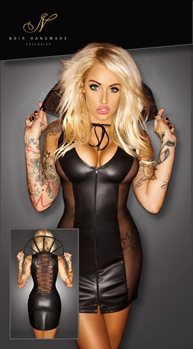 noir Kleid Kragen, schwarz