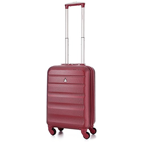 Aerolite Super Lightweight ABS Hard Shell Travel Carry On Cabin Hand Luggage Suitcase with 4 Wheels, Approved for Ryanair, Easyjet, British Airways, Virgin Atlantic, Flybe and Many More (Wine)