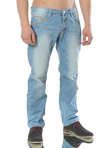 Herren Jeans Hose Denim Slim Fit Blau Designer Clubwear White-Sky Plus Blau