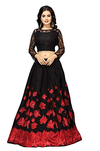 Shringaar® Women\'s Banglory Silk Lahenga Choli (SK1102). (Red, Semi-Stitched)