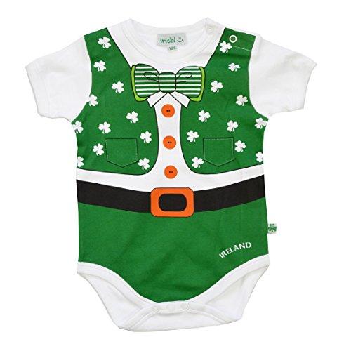 Baby-Unterhemd im Kobold-Look mit Kleeblättern und einer Fliege (Baby St Patricks Day Outfit)