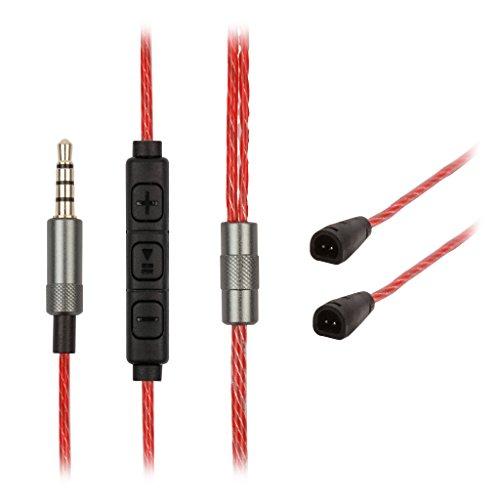 REYTID  5N Câble OFC de Rechange pour Casque Sennheiser IE8 IE80 IE8i avec Micro contrôle du Volume - Câble à Distance en Ligne 525719 Rouge