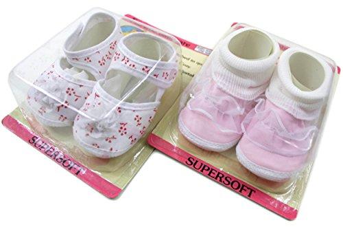 2er Set Babyschuhe Gr. 16-17 ca.10cm 2 Paar Krabbelschuhe Lauflerner Baby Schuhe BS6085-DS06