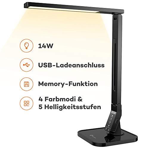 TaoTronics 12W Schreibtischlampe LED Tischlampe mit 25 verschiedenen Lichteinstellungen, 5 Farbtemperaturen mit eingebautem USB-Anschluss zum Aufladen von Smartphones schwarz
