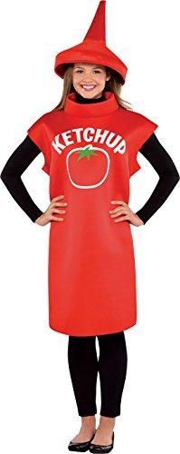 Karnevalsbud Damen Karnevals Komplettkostüm Ketchup-Flasche, M/L, Rot (Flasche Für Erwachsene-standard Kostüm)