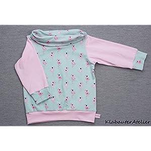 Hoodie Pullover Wickelkragen Jersey Handmade Mädchen Flamingo