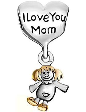 uniqueen Mother 's Geschenk Mum I love you Süße Mädchen Charms Perlen Passform Armband