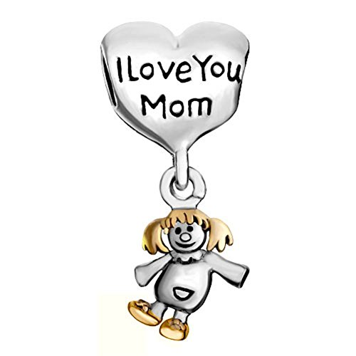 Uniqueen Mother's Gift Mum I Love You Cute Girl Charms Sale Cheap Beads Fit Pandora Bracelet