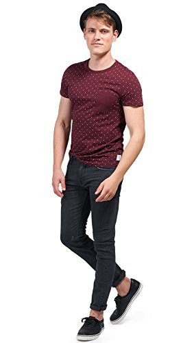 Tom Tailor Denim für Männer T-Shirt gemustertes T-Shirt mit Brusttasche deep burgundy red