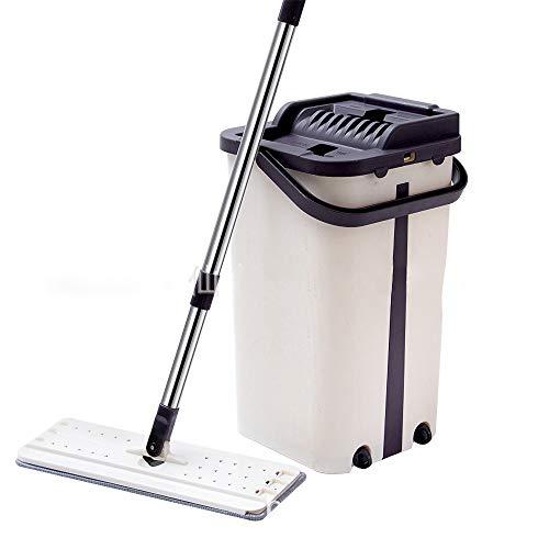 SKINGO Komfort-Mopp Ausziehbarer Flat Mop-Boden Staubtuch mit langem Griff Praktischer waschfreier Mop Werkzeugset für Faule Reinigung einschließlich Eimer
