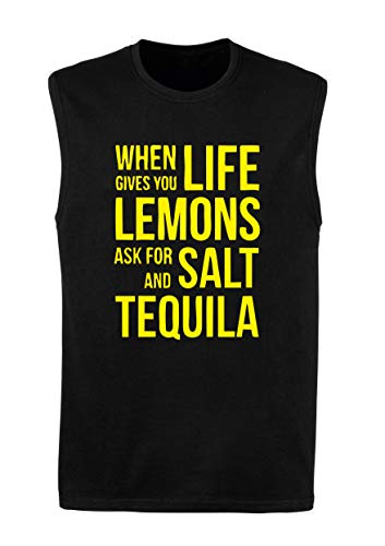 T-Shirt Mann armellos Schwarz WES0148 When Life Gives You Lemons Ask for Salt and Tequila