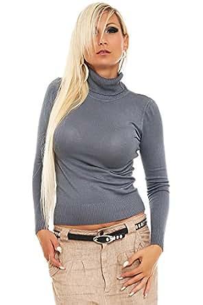 10098 Fashion4Young Damen Feinstrick-Pullover Pulli Rollkragen verfügbar in 12 Farben Gr. 34/36 (34/36, Grau)