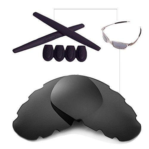 Walleva Polarisierte Venengläser und Gummi für Oakley Juliet - Mehrfache Optionen (Schwarze Polarisierte Belüftungsgläser + Schwarzer Gummi)
