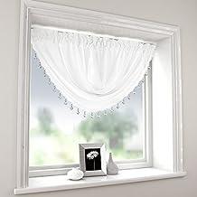 Plain White Swag Luxury Macrame Pelmet Swag beaded Heart Bead Valance Drapes voile net Window Decor