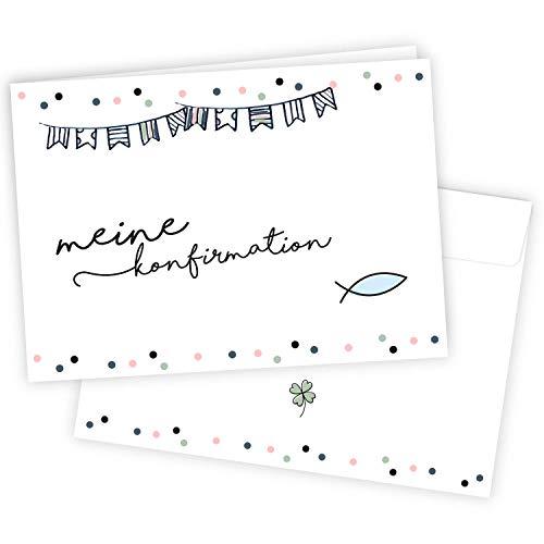 20 Einladungskarten zur Konfirmation mit Umschlägen I DIN A6 I Set Einladungen zum Ausfüllen I für Kinder Mädchen I dv_740