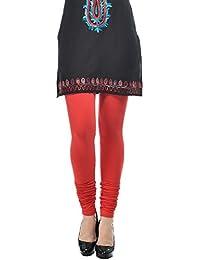 Frenchtrendz Dark Red Cotton Spandex Churidar Legging For Women