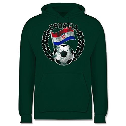 EM 2016 - Frankreich - Croatia Flagge & Fußball Vintage - Männer Premium Kapuzenpullover / Hoodie Dunkelgrün