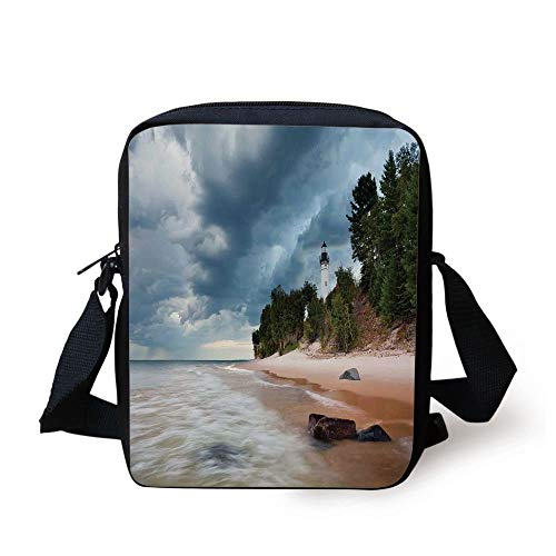 Lighthouse Decor,Au Sable Lighthouse in Pictured Rock National Lakeshore Michigan USA, Print Kids Crossbody Messenger Bag Purse -