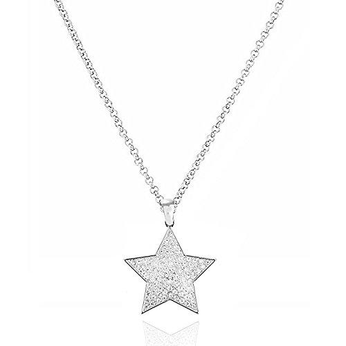 Akki Stern Kette Damen Silber Schmuck Strass Sterne Halskette mit Swarovski Kristall Frauen Geschenke Engels flügel Liebe-Familien-Baum-Halskette Traum Silber