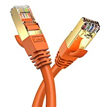 Veetop Câble Ethernet LAN | Cat 8 RJ45, Câble Réseau SFTP Vitesse 40 Gbps / 2000Mhz (1m Orange)