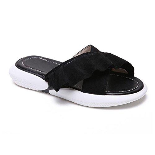 xy Infradito e Ciabatte da Spiaggia Flip Flop Donna Summer Fashion Outdoor Student Cross Chic Fondo Piatto Sandali E Pantofole (Colore : Black, Dimensioni : EU38/UK5.5/CN38)