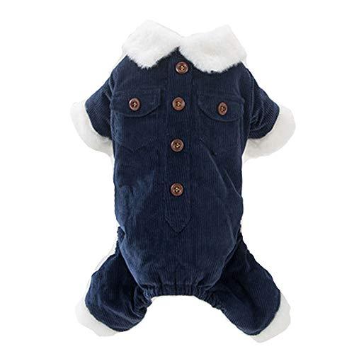 (GJFeng Corduroy Niedliche Hundekleidung Vierbeinige Kleidung Teddybär Kleiner Hund Dicke Baumwollwelpen (Farbe : Blau, größe : S))