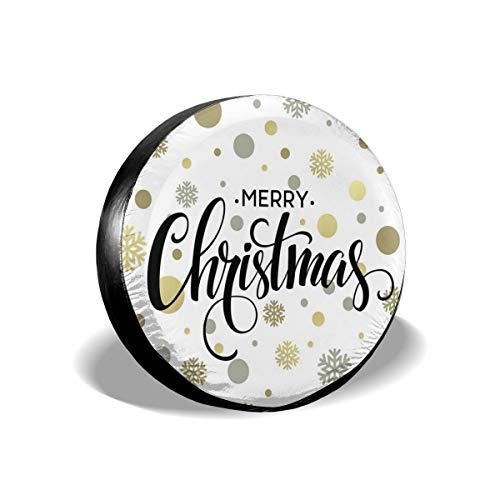 ErwangGo Tire Cover Wheel Covers,Merry Christmas Stylized Lettering On Abstract Modern Snowflake Dot Pattern,for SUV Truck Camper Travel Trailer Accessories(14,15,16,17 Inch) 17 Merry Mushroom