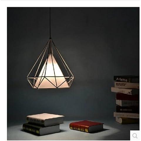 Nasen Nordic estilo diamante hierro lámpara de araña tela retro-industrial moderna minimalista comedor lámparas pirámide Diamond jaula de pájaros lámparas de araña, negro
