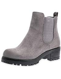 84452bad42e043 Marimo Damen Stiefeletten Chelsea Ankle Boots Wildlederoptik Blockabsatz  Profilsohle Plateau