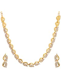 Zeneme American Diamond Gold Plated Necklace Set with Earring Jewellery for Women & Girls