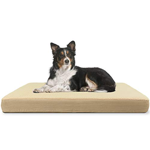 Orthopädisches Hundebett aus Memory-Schaum, rechteckig, mit wasserdichtem Innenschutz und abnehmbarem Bezug, Größe L, Braun
