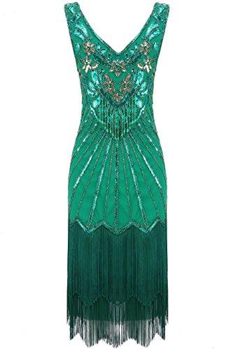 BABEYOND Damen Kleid Retro 1920er Stil Flapper Kleider mit Zwei Schichten Troddel V Ausschnitt Great...