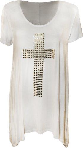Fashion 4weniger Neue Damen Plus Größe Sicherheitsaugen Kreuz Taschentuch Saum Top. UK 14�?8 Weiß