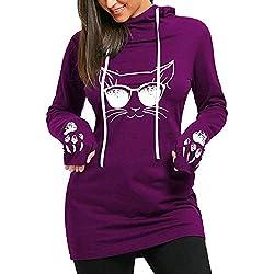 Señoras Sudaderas Vestidos Mujeres Largo Pullover con Impresión La del Gato Casual Sólido Especial Estilo Slim Fit Vestidos con Capucha Suéteres Largos Tops (Color : Violett, Size : S)