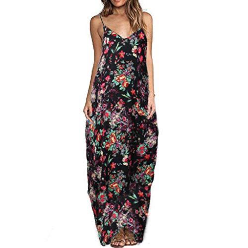 LILIHOT Womens Maxi Floral Sommer ärmelloses langes Kleid Abend Cocktail Party Sun Dress Damen Casual Lose Maxikleider Kleider Lange Kleid mit Taschen V Ausschnitt Ärmellos Minikleid Strandkleid (Aztec Sun-bikini)