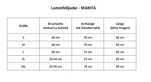 Lammfelljacke - MARITA Damen Lederjacke Felljacke Bergschaf Jacke Winterjacke grau Size XXL - 5