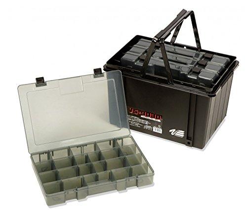 Meiho Versus VS 9030 - 4x Angelbox 33x22x5cm + Transporthilfe, Angelkasten 37x25x23cm, Angelkoffer mit 4 Boxen, schwarz