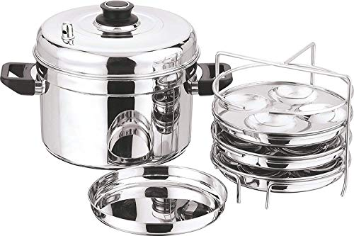 Fasherati 202 1pcs Small Multi Pot with 3pcs idli Plates, 3pcs dhokla Plates, Silver -